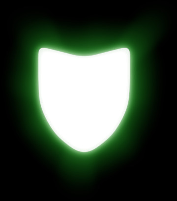 Image of white shield with a green glow